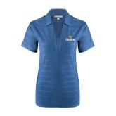 Community College Ladies Indigo Blue Horizontal Textured Polo-Hostos w/Sun