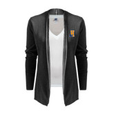 Ladies Black Open Front Cardigan-Hostos H w/Alligator