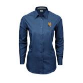 Community College Ladies Deep Blue Tonal Pattern Long Sleeve Shirt-Hostos H w/Alligator