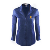 Ladies Red House Deep Blue Herringbone Non Iron Long Sleeve Shirt-Hostos H w/Alligator