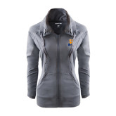 Ladies Sport Wick Stretch Full Zip Charcoal Jacket-Hostos H w/Alligator