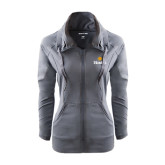 Ladies Sport Wick Stretch Full Zip Charcoal Jacket-Hostos w/Sun