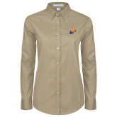 Community College Ladies Khaki Twill Button Down Long Sleeve-Hostos H w/Alligator