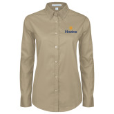 Community College Ladies Khaki Twill Button Down Long Sleeve-Hostos w/Sun
