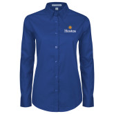 Community College Ladies Royal Twill Button Down Long Sleeve-Hostos w/Sun