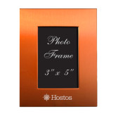 Orange Brushed Aluminum 3 x 5 Photo Frame-Hostos w/Sun Flat Engraved