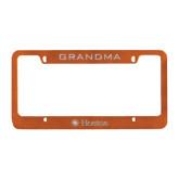 Metal Orange License Plate Frame-Hostos w/Sun Flat Engraved