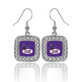 Crystal Studded Square Pendant Silver Dangle Earrings-Hunter College