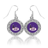 Crystal Studded Round Pendant Silver Dangle Earrings-Hunter College