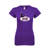Next Level Ladies SoftStyle Junior Fitted Purple Tee-Hunter College