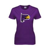 Ladies Purple T Shirt-Hawk Head