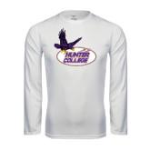 Performance White Longsleeve Shirt-Hunter College