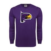 Purple Long Sleeve T Shirt-Hawk Head