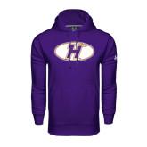Under Armour Purple Performance Sweats Team Hoodie-H Mark
