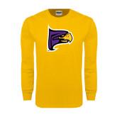 Gold Long Sleeve T Shirt-Hawk Head