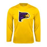Performance Gold Longsleeve Shirt-Hawk Head