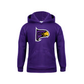 Youth Purple Fleece Hoodie-Hawk Head