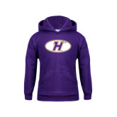 Youth Purple Fleece Hoodie-H Mark