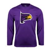 Performance Purple Longsleeve Shirt-Hawk Head