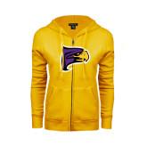 ENZA Ladies Gold Fleece Full Zip Hoodie-Hawk Head