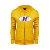 ENZA Ladies Gold Fleece Full Zip Hoodie-H Mark