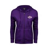 ENZA Ladies Purple Fleece Full Zip Hoodie-Hunter College
