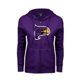 ENZA Ladies Purple Fleece Full Zip Hoodie-Hawk Head