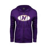 ENZA Ladies Purple Fleece Full Zip Hoodie-H Mark