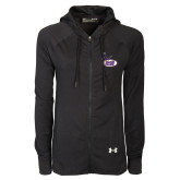 Ladies Under Armour Black Varsity Full Zip Hoodie-Hunter College