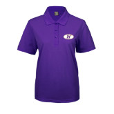 Ladies Easycare Purple Pique Polo-H Mark