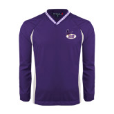 Colorblock V Neck Purple/White Raglan Windshirt-Hunter College