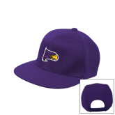 Purple Twill Flat Bill Snapback Hat-Hawk Head