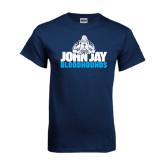 Navy T Shirt-John Jay Bloodhounds