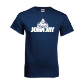 Navy T Shirt-Mascot on John Jay