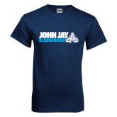 Navy T Shirt-John Jay Bloodhounds w Hound Flat