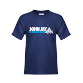 Youth Navy T Shirt-John Jay Bloodhounds w Hound Flat