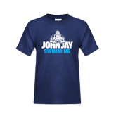 Youth Navy T Shirt-Swimming