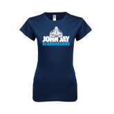 Next Level Ladies SoftStyle Junior Fitted Navy Tee-John Jay Bloodhounds