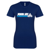 Next Level Ladies SoftStyle Junior Fitted Navy Tee-John Jay Bloodhounds w Hound Flat