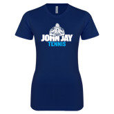 Next Level Ladies SoftStyle Junior Fitted Navy Tee-Tennis