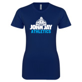 Next Level Ladies SoftStyle Junior Fitted Navy Tee-Athletics
