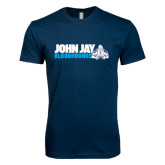Next Level SoftStyle Navy T Shirt-John Jay Bloodhounds w Hound Flat