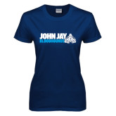 Ladies Navy T Shirt-John Jay Bloodhounds w Hound Flat