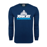 Navy Long Sleeve T Shirt-John Jay Bloodhounds