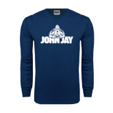 Navy Long Sleeve T Shirt-Mascot on John Jay