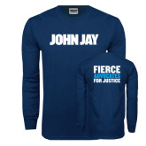 Navy Long Sleeve T Shirt-John Jay