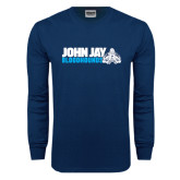 Navy Long Sleeve T Shirt-John Jay Bloodhounds w Hound Flat