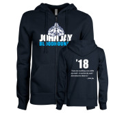 ENZA Ladies Navy Fleece Full Zip Hoodie-John Jay Bloodhounds