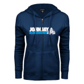 ENZA Ladies Navy Fleece Full Zip Hoodie-John Jay Bloodhounds w Hound Flat