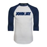 White/Navy Raglan Baseball T-Shirt-John Jay